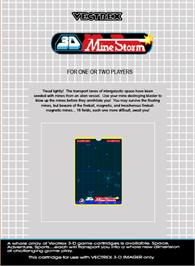 Box back cover for 3D Mine Storm on the GCE Vectrex.
