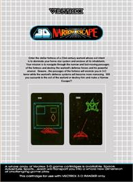 Box back cover for 3D Narrow Escape on the GCE Vectrex.