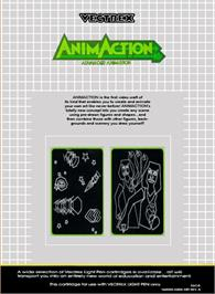 Box back cover for AnimAction: Advanced Animation on the GCE Vectrex.