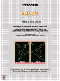 Box back cover for Bedlam on the GCE Vectrex.