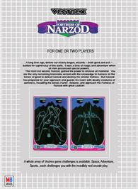 Box back cover for Fortress of Narzod on the GCE Vectrex.