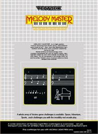 Box back cover for Melody Master: Music Composition and Entertainment on the GCE Vectrex.