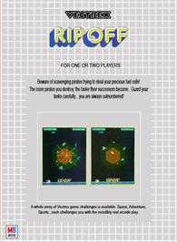 Box back cover for Rip-Off on the GCE Vectrex.