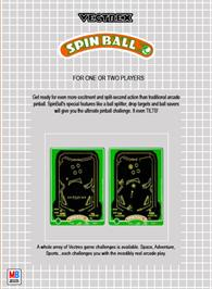Box back cover for Spin Ball on the GCE Vectrex.
