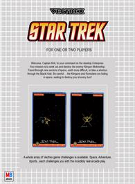 Box back cover for Star Trek: The Motion Picture on the GCE Vectrex.