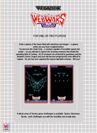 Box back cover for Web Wars on the GCE Vectrex.