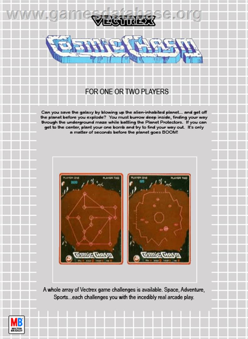 Cosmic Chasm - GCE Vectrex - Artwork - Box Back