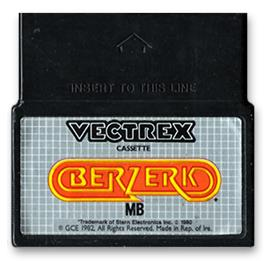 Cartridge artwork for Berzerk (Debugged Prototype) on the GCE Vectrex.