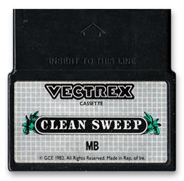 Cartridge artwork for Clean Sweep: Mr. Boston Version on the GCE Vectrex.