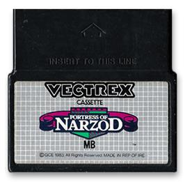 Cartridge artwork for Fortress of Narzod on the GCE Vectrex.