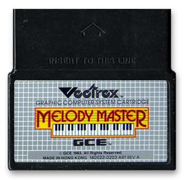 Cartridge artwork for Melody Master: Music Composition and Entertainment on the GCE Vectrex.