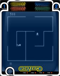 In game image of Berzerk (Debugged Prototype) on the GCE Vectrex.