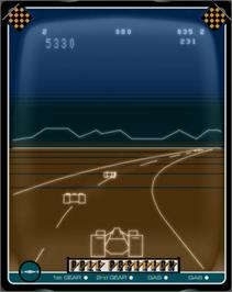 In game image of Pole Position on the GCE Vectrex.