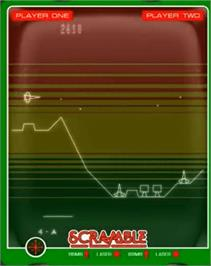 In game image of Scramble on the GCE Vectrex.