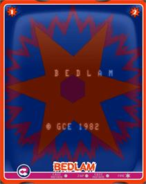 Title screen of Bedlam on the GCE Vectrex.