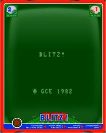 Title screen of Blitz! Action Football on the GCE Vectrex.