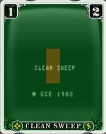 Title screen of Clean Sweep on the GCE Vectrex.