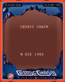 Title screen of Cosmic Chasm on the GCE Vectrex.