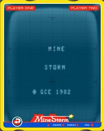 Title screen of Mine Storm on the GCE Vectrex.