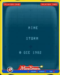 Title screen of Mine Storm II on the GCE Vectrex.