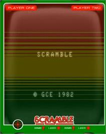 Title screen of Scramble on the GCE Vectrex.