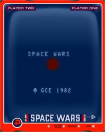 Title screen of Space Wars on the GCE Vectrex.