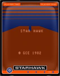 Title screen of Starhawk on the GCE Vectrex.