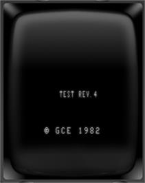 Title screen of Test Cartridge (Revision 4) on the GCE Vectrex.