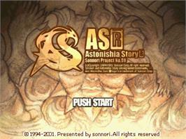 Title screen of Astonishia Story R on the Gamepark GP32.