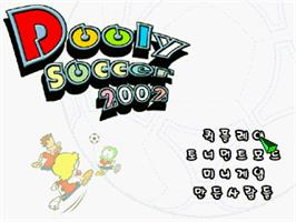 Title screen of Dooly Soccer 2002 on the Gamepark GP32.