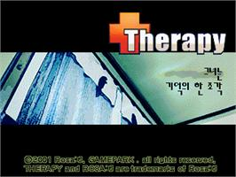 Title screen of Therapy on the Gamepark GP32.