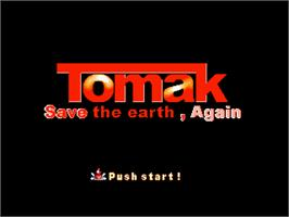 Title screen of Tomak - Save the Earth, Again on the Gamepark GP32.