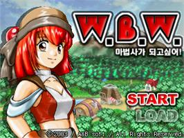 Title screen of W.B.W. - Wanna Be Wizard! on the Gamepark GP32.