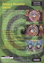 Box back cover for Ballistic on the Genesis Microchip Nuon.