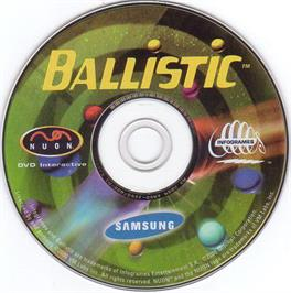 Artwork on the CD for Ballistic on the Genesis Microchip Nuon.