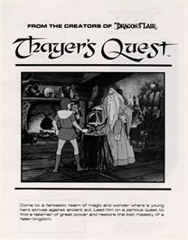 Advert for Thayer's Quest on the Laserdisc.