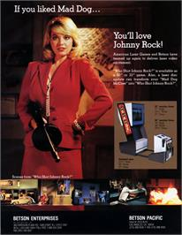 Advert for Who Shot Johnny Rock? on the Laserdisc.