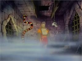 In game image of Dragon's Lair on the Laserdisc.