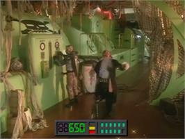 In game image of Space Pirates on the Laserdisc.