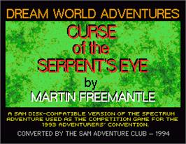 Title screen of Curse of the Serpent's Eye on the MGT Sam Coupe.