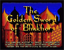 Title screen of Golden Sword of Bhakhor on the MGT Sam Coupe.