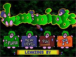 Title screen of Lemmings on the MGT Sam Coupe.