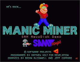 Title screen of Manic Miner on the MGT Sam Coupe.