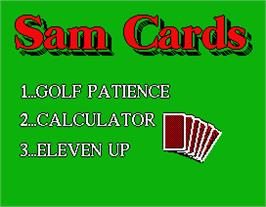 Title screen of Sam Cards on the MGT Sam Coupe.