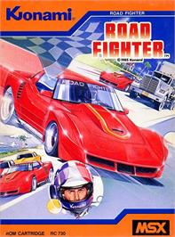 Box cover for Road Fighter on the MSX.
