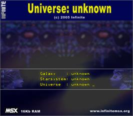 Box cover for Universe: Unknown on the MSX.