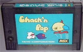 Cartridge artwork for Chack'n Pop on the MSX.