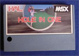 Cartridge artwork for Hole in One Professional on the MSX.