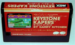 Cartridge artwork for Keystone Kapers on the MSX.