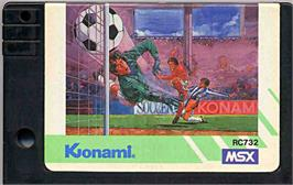 Cartridge artwork for Konami's Soccer on the MSX.